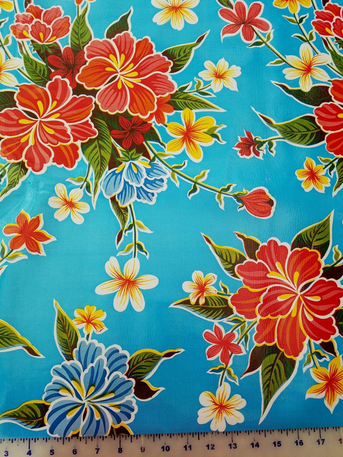 STRPBLUEHYB Moda Oilcloth 48 wide Blue Hybiscus