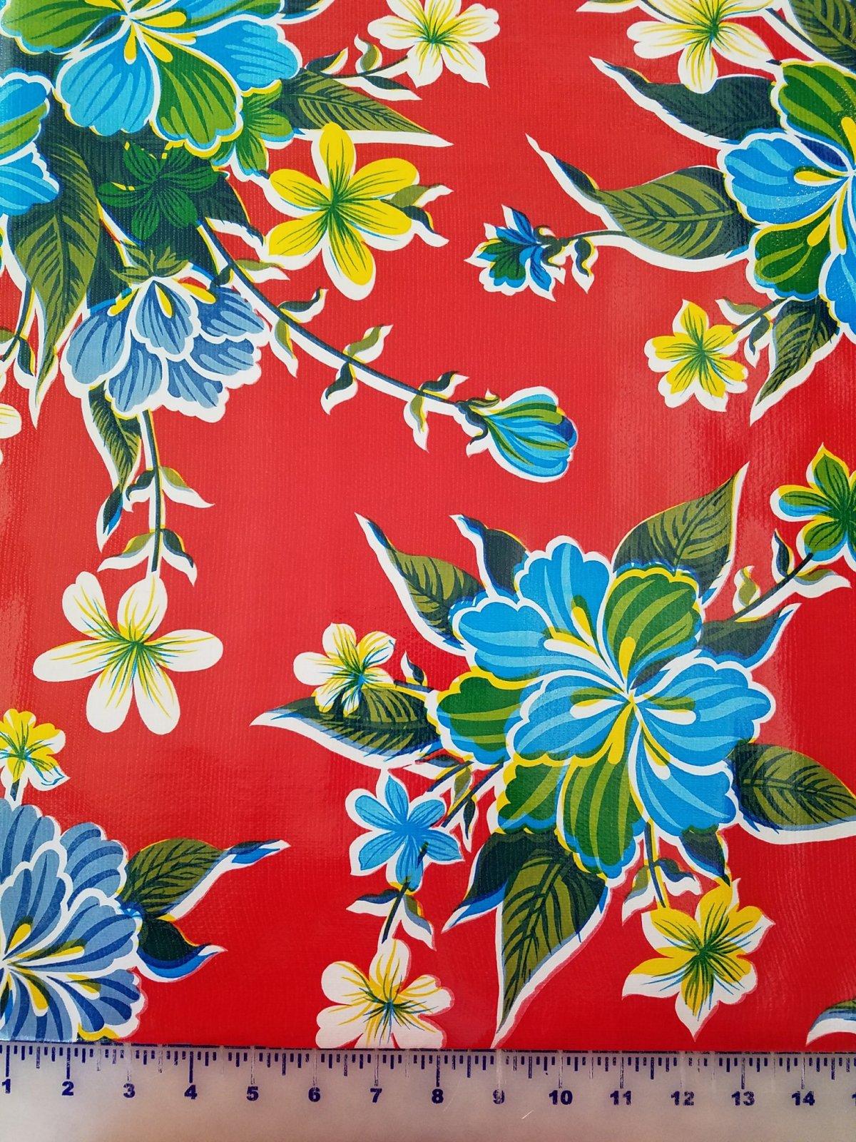 STRPREDHYB Moda Oilcloth 48 wide Red Hybiscus
