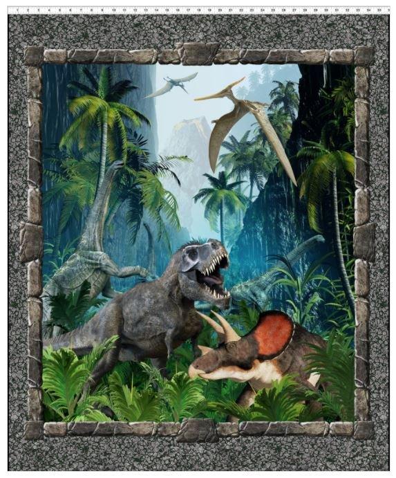 1JUR-1, In the Beginning, Jason Yenter, JURASSIC,  Dinosaur Panel 37 in x 42 in