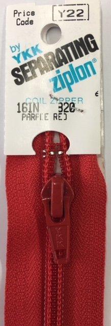 2016-820 YKK Zipper Seperating Parade Red 16 length