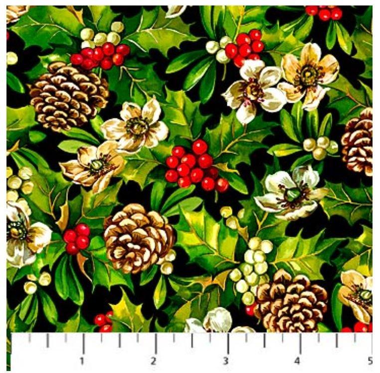 21082-99 Northcott Home for the Holidays Small print Christmas