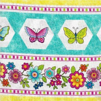 21099-63TURQ Blossom Turquoise & Pink Border Print