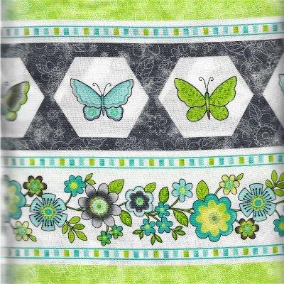 21099-94GREY Blossom Turquoise & Grey Border Print