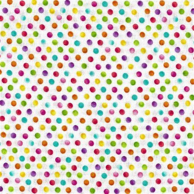 21104-10WHT Blossom Turquoise & Pink Dots