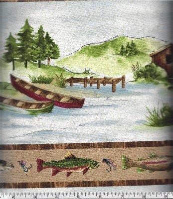 21116-32TAN Stoney River River Border Print