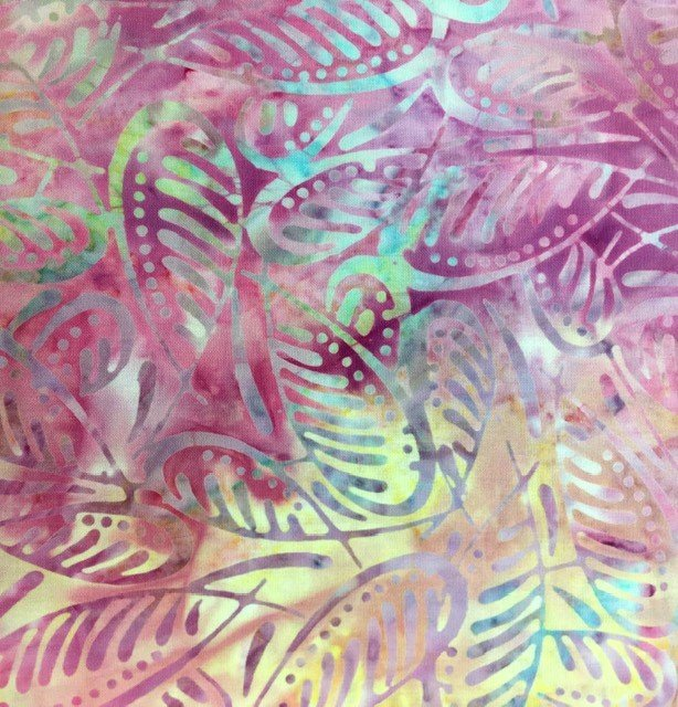 22239-653 Wilmington Batiks Star Links Yellow and Pink Fern Leaves