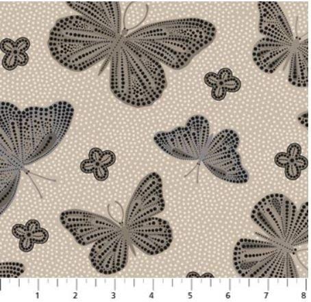 22773-11 Northcott La Dolce Vita Taupe Butterflies