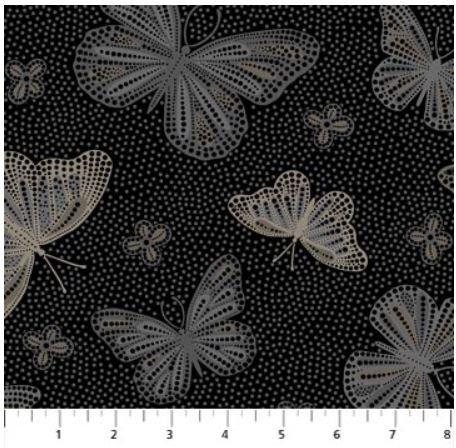 22773-99 Northcott La Dolce Vita Taupe Dark Butterflies