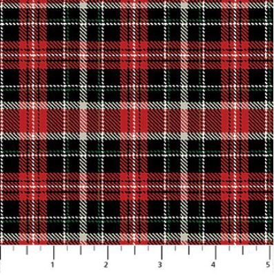 22839-24 Northcott Cardinal Woods, Red and Black Plaid