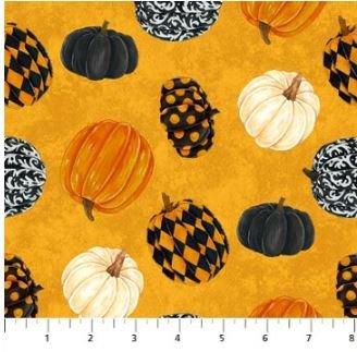 22862-54 Northcott Raven's Claw Pumpkins on Orange Background