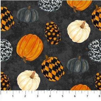 22862-99 Northcott Raven's Claw Pumpkins on Black Background