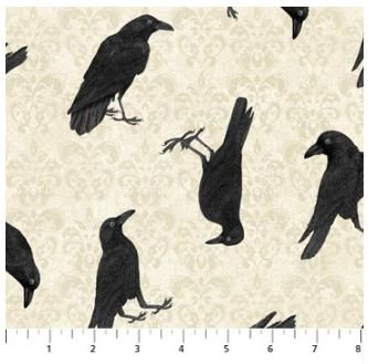 22863-12 Northcott Raven's Claw Ravens with Cream Background