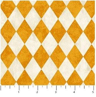 22868-12 Northcott Raven's Claw Cream and Orange Argyle design