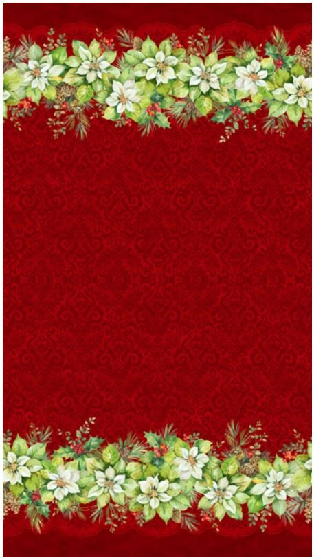 22880-24 Northcott Deck the Halls Red Border Print