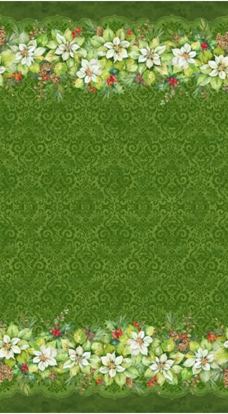 22880-74 Northcott Deck the Halls Green Border Print