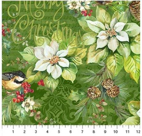 22881-74 Northcott Deck the Halls Large Print Green Poinsettia