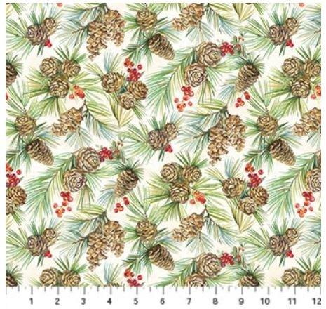 22883-11 Northcott Deck the Halls Cream Pine Cones