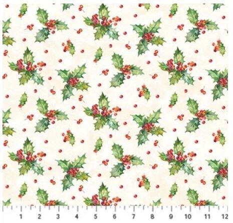 22884-11 Northcott Deck the Halls Cream Holly