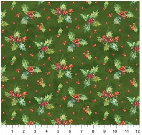 22884-74 Northcott Deck the Halls Green Holly