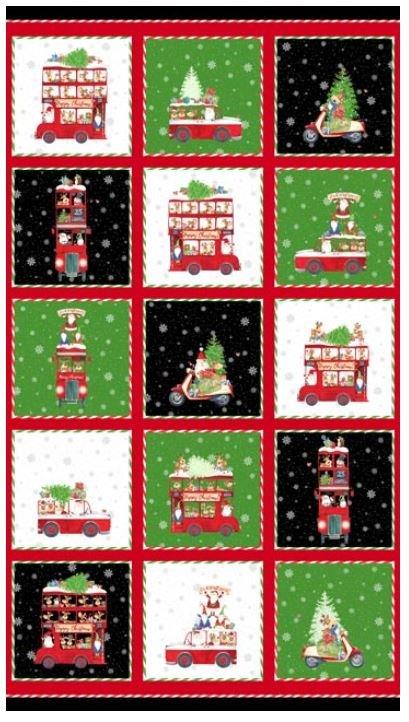 22900-99 Northcott Double Decker Xmas Red Green and Black Blocks
