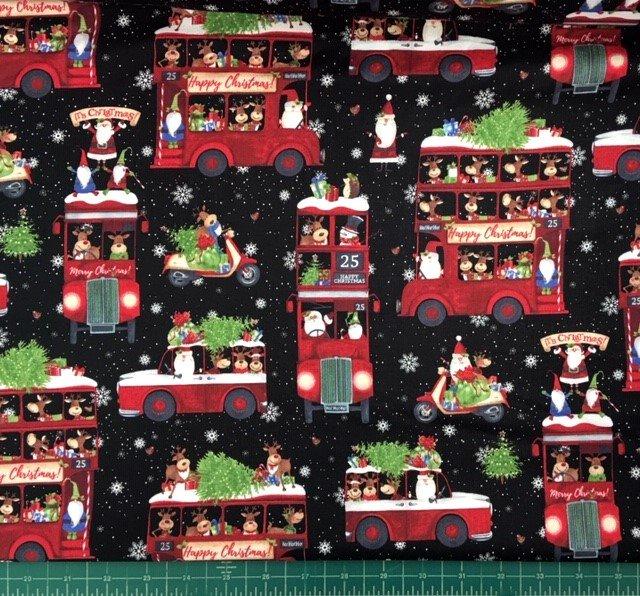 22902-99 Northcott Double Decker Xmas Santa's Transportation Black