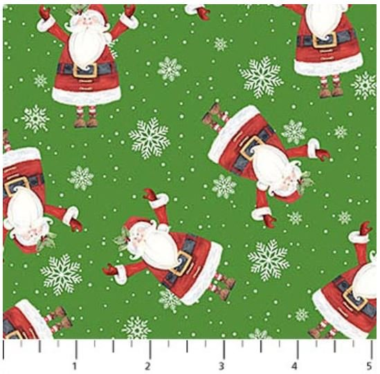 22904-74 Northcott Double Decker Xmas Green with Tossed Santa