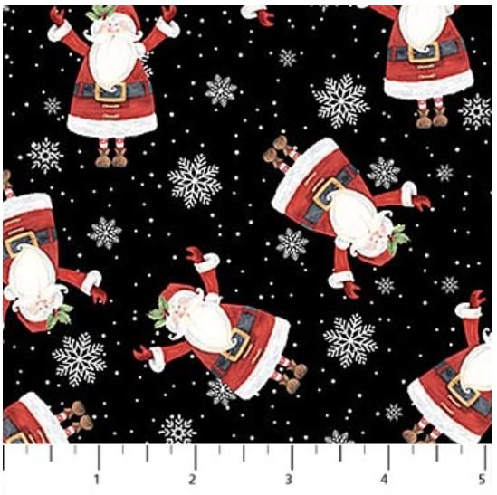 22904-99 Northcott Double Decker Xmas Black with Tossed Santa