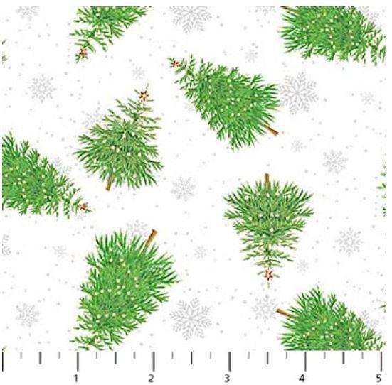 22905-10 Northcott Double Decker Xmas Green Trees on White
