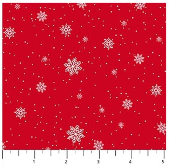 22907-24 Northcott Double Decker Xmas Snowflakes on Red