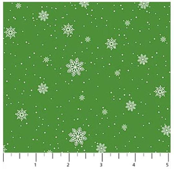 22907-74 Northcott Double Decker Xmas Snowflakes on Green