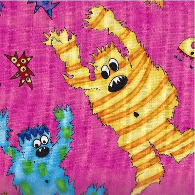 23333-P Quilting Treasures Monster Mash Dark Pink Large Monsters