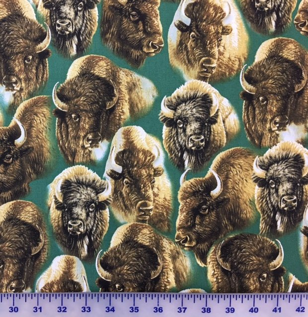 24989-F Quilting Treasures Where the Buffalo Roam Green