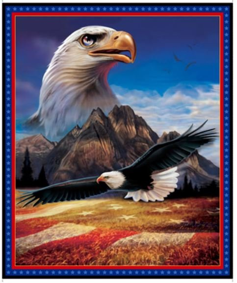27761-B, Quilting Treasures, American Eagle Panel 35 inch by 42 inch