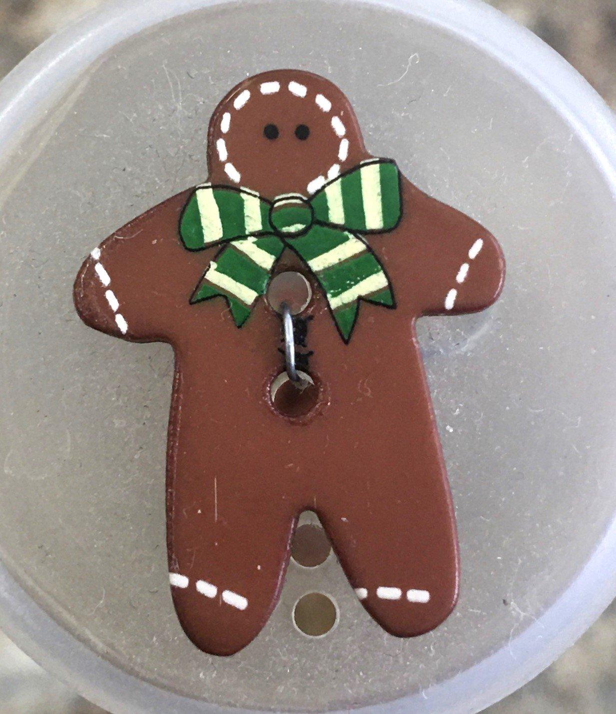 280777, Dill Buttons 25 mm Green Gingerbread Man