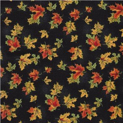 2980-99  Northcott Harvest Moon Fall leaves on black background