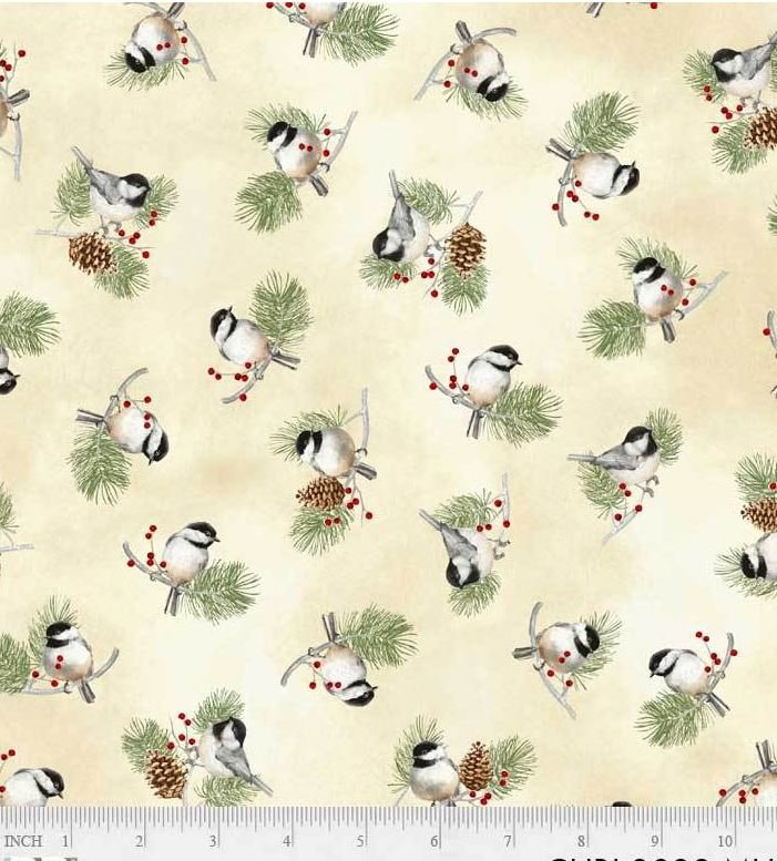 3032-MU P&B Textiles Christmas Bird Song Cream Pine Boughs and Chickadees