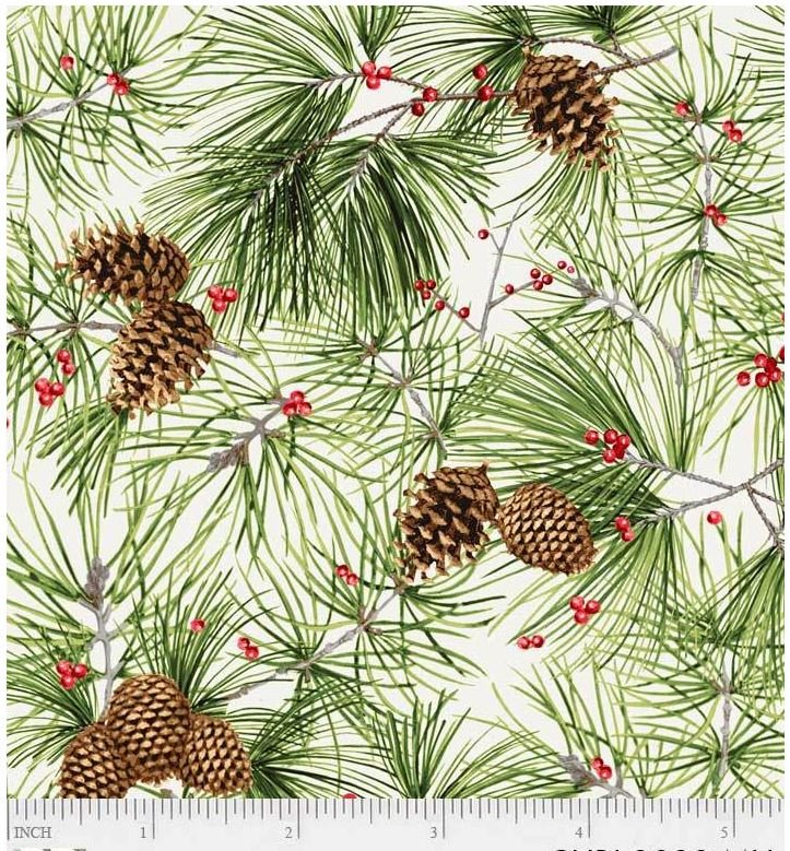 3033-MU P&B Textiles Christmas Bird Song Cream Pine Cones Pine Boughs and Red Berries