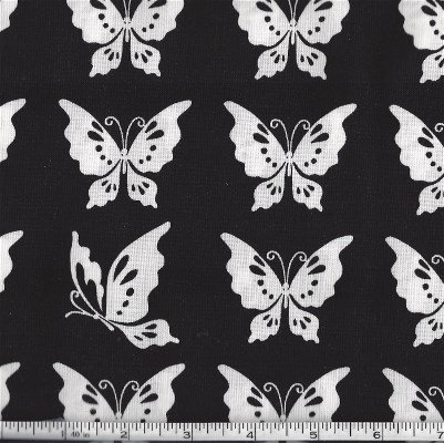 32359-12 Moda Black with White Butterflies