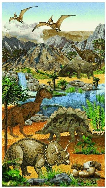 39184-42 Northcott Stonehenge Kids Prehistoric Dinosaur Panel