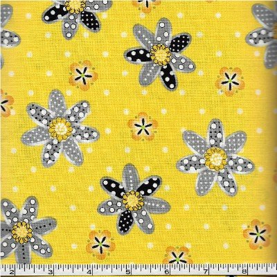 3978-60782-4 Exclusively Quilters Sundance Yellow with Gray Daisies