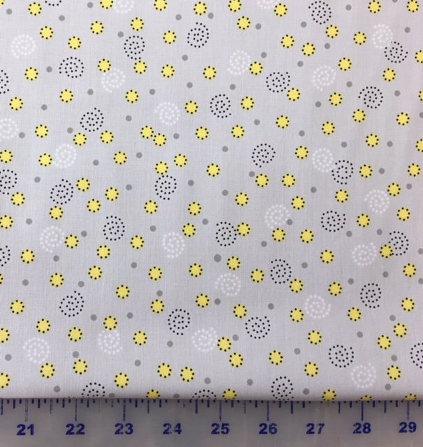 3978-60784-83 Exclusively Quilters Sundance Light Gray with Yellow Dots