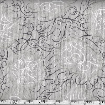 3999-60831-80 Exclusively Quilters Cotillion Gray background with Charcoal and White Swirls