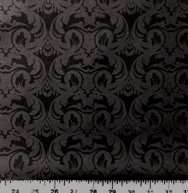 3999-60832-8 Exclusively Quilters Cotillion Black with Dark Charcoal Gray La Fleurs