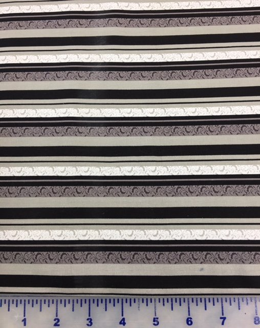 3999-60833-8 Exclusively Quilters Cotillion Black Dark Gray and Gray Stripes
