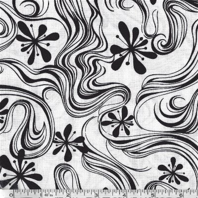 4003-60850-80 Exclusively Quilters Jet Black Black on White Swirls & Flowers