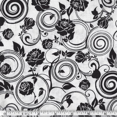 4003-60851-80 Exclusively Quilters Jet Black Black on White Swirls & Flowers