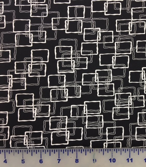 4003-60855-8 Exclusively Quilters Jet Black White on Black Rectangular Frames