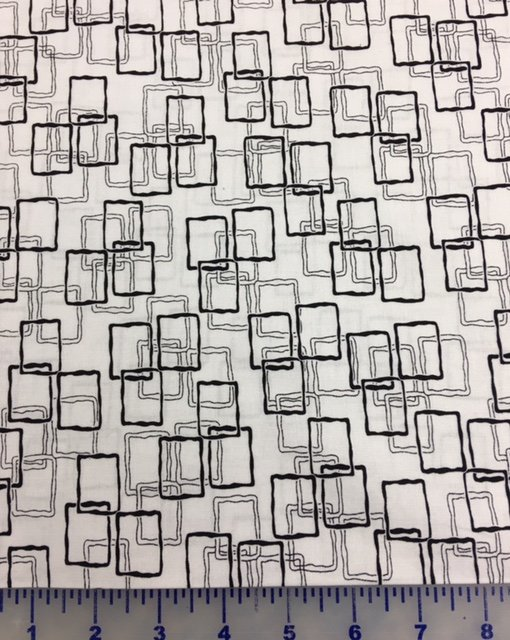4003-60855-80 Exclusively Quilters Jet Black Black on White Rectangular Frames