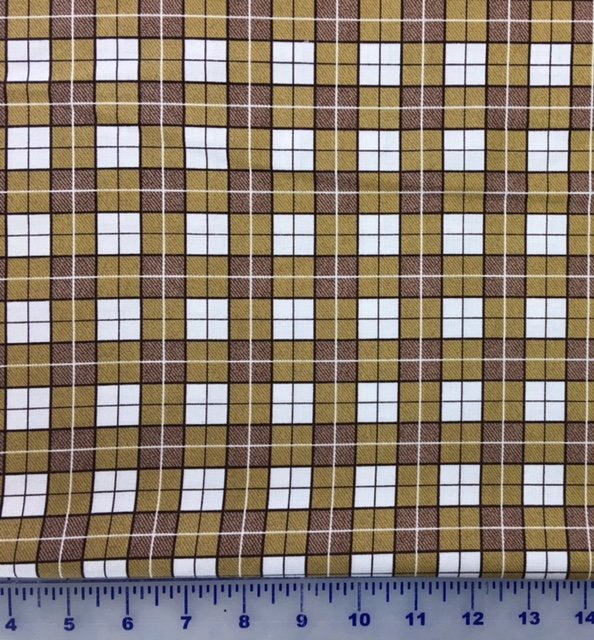 60971-95 Exclusively Quilters Puppy Love Mustard Plaid