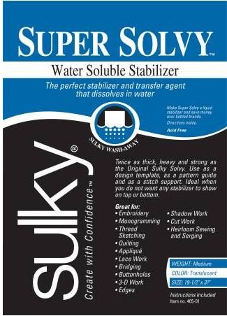 405-01 Sulky Stabilizer Solvy Water Soluble 19.5 by 36 Translucent
